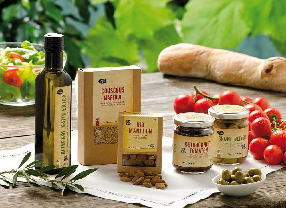 Foto mit verschiedenen Lebensmittelprodukten con Canaan, Palästina