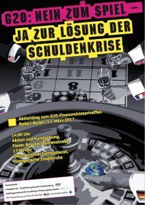 """Plakat Schriftzug """"G20: Nein zum Spiel - Ja zur Lösung der Schuldenkrise"""", im Hintergrund ein Roulette-Tisch mit Händen und Jetons"""