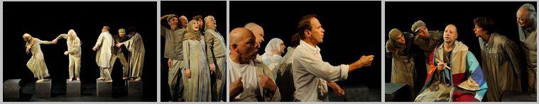 4 Fotos nebeneinander: Szenen aus einem Theaterstück