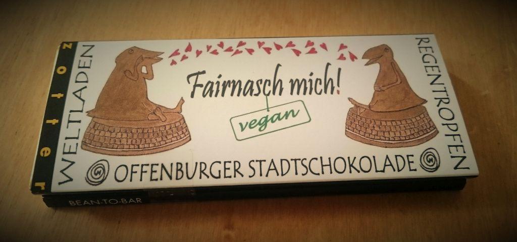 Foto der veganen Offenburger Stadtschokolade