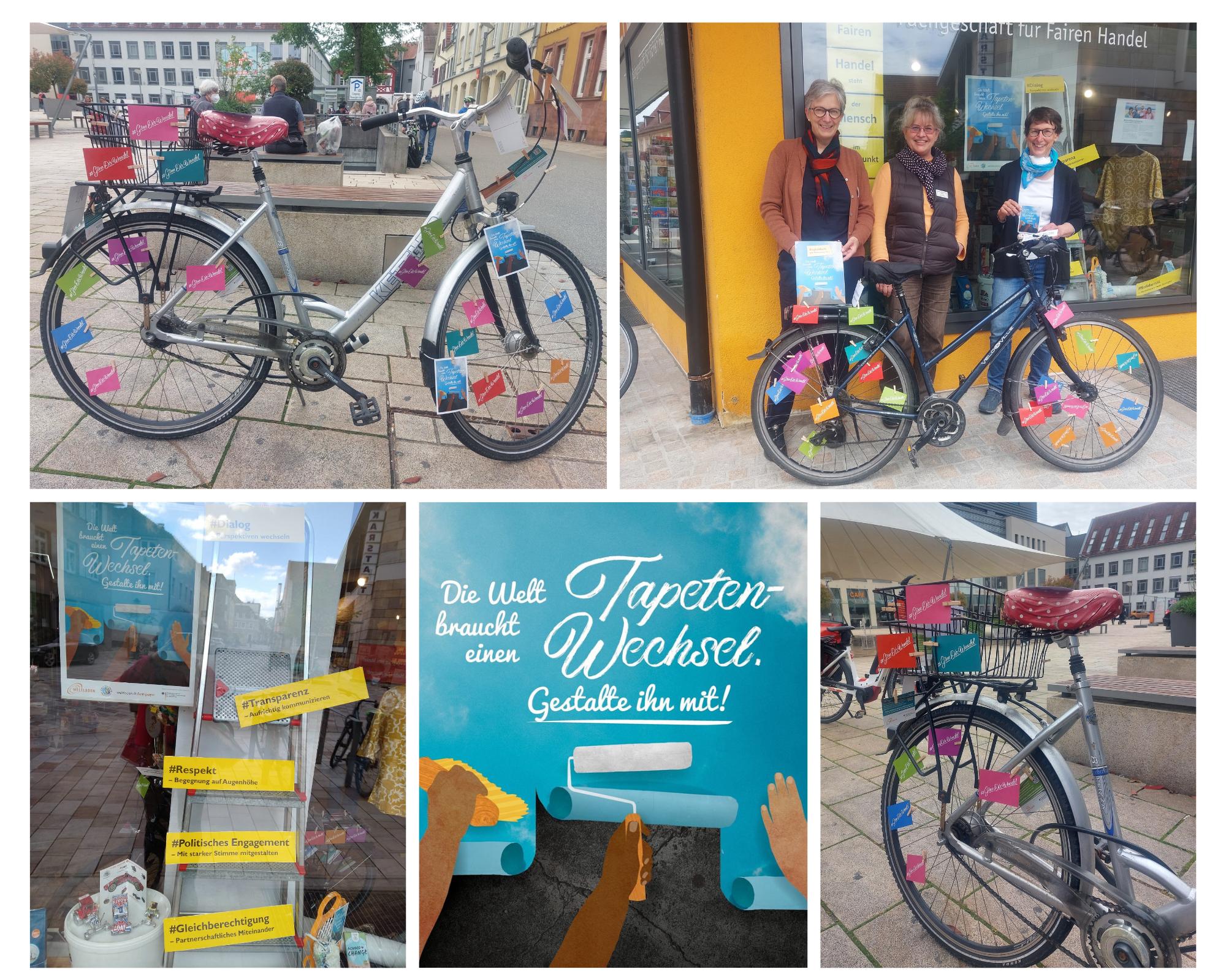 """Collage mit Fahrrädern, vollgepackt mit Impulskärtchen. Auf einem Bild sieht man das Bildungsteam. Auf einem anderen Bild ein Teil des dekorierten Schaufensters. Ausserdem das Plakat mit dem Text: """"Die Welt braucht einen Tapetenwechsel. Gestalte ihn mit"""""""