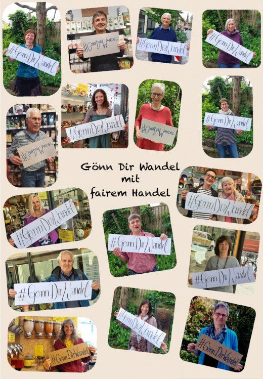 Plakat mit verschiedenen Fotos der Weltladen-Mitarbeiter*innen
