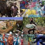 Collage mit Fotos von ausbeuterischer Arbeit: Kinder in einer Mine, Schneiderei in Fernost, Kind, schleppend mit schweren Sack, Tomatenpflücker in Süd-italien, Wohnen unter Plastikplanen in Süd-Italien