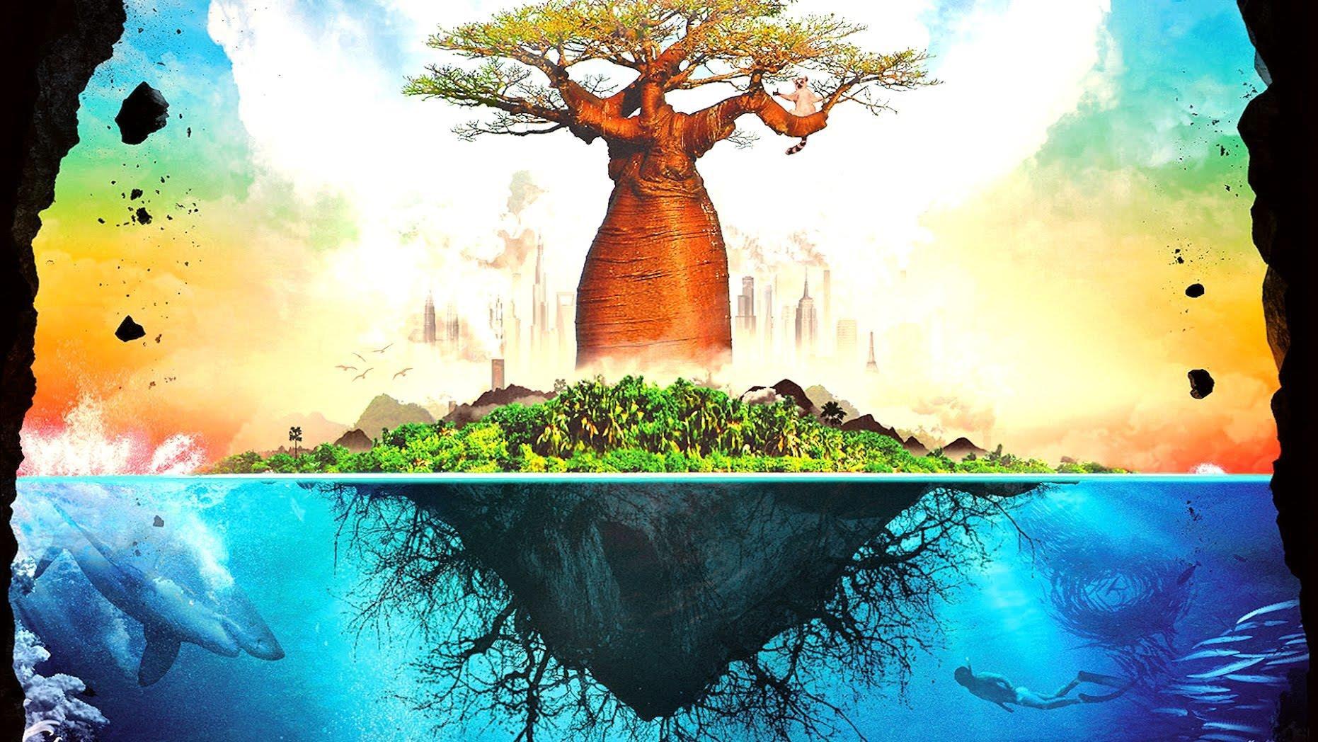 Grafik: Baobab-Baum, der auf einer kleinen Insel im Wasser schwimmt
